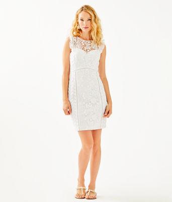 Maya Shift Dress, Resort White Floral Lace, large 3