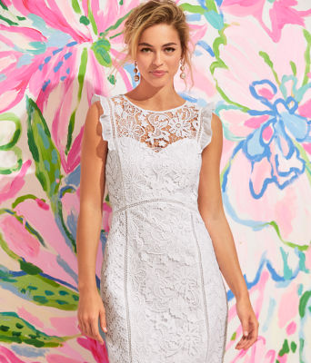 Maya Shift Dress, Resort White Floral Lace, large 5