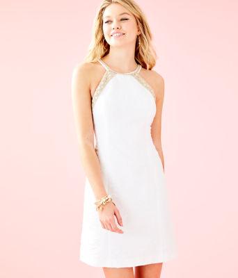 Pearl Stretch Shift Dress, Resort White Caliente Pucker Jacquard, large 0