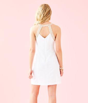 Pearl Stretch Shift Dress, Resort White Caliente Pucker Jacquard, large 1