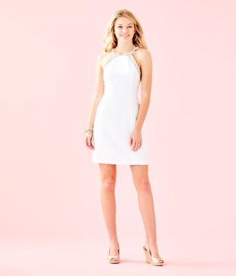 Pearl Stretch Shift Dress, Resort White Caliente Pucker Jacquard, large