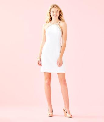 Pearl Stretch Shift Dress, Resort White Caliente Pucker Jacquard, large 3