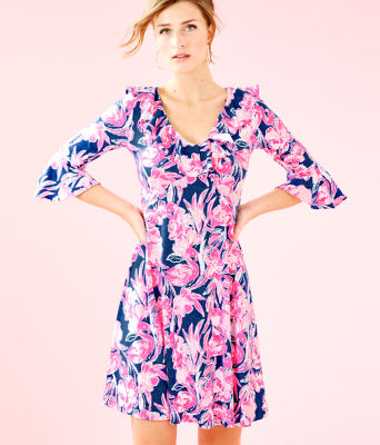 Stirling Dress, Inky Navy Flamingle, large