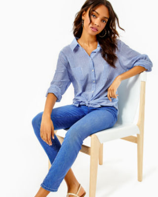 Sea View Button Down Top, Coastal Blue Ltwt Oxford Stripe, large
