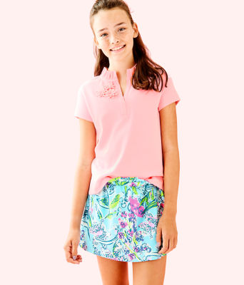 Girls Thierry Polo, Coral Reef Tint, large