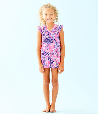 Girls Romee Romper, Pink Tropics Sun Drenched, large 0