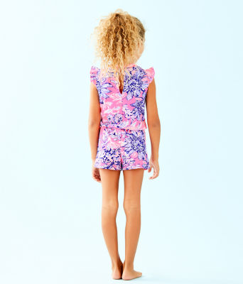 Girls Romee Romper, Pink Tropics Sun Drenched, large