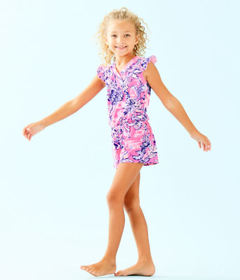 Girls Romee Romper, Pink Tropics Sun Drenched, large 2