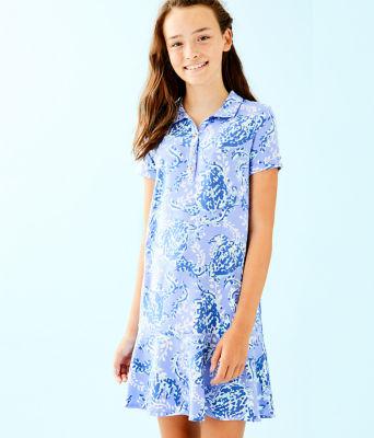 UPF 50+ Girls Mini Sadie Polo Dress, Blue Peri Turtley Awesome, large 0