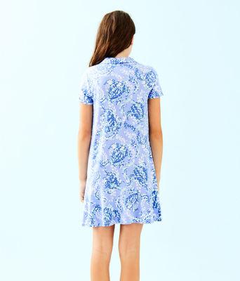 UPF 50+ Girls Mini Sadie Polo Dress, Blue Peri Turtley Awesome, large 1