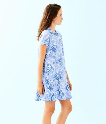 UPF 50+ Girls Mini Sadie Polo Dress, Blue Peri Turtley Awesome, large 2