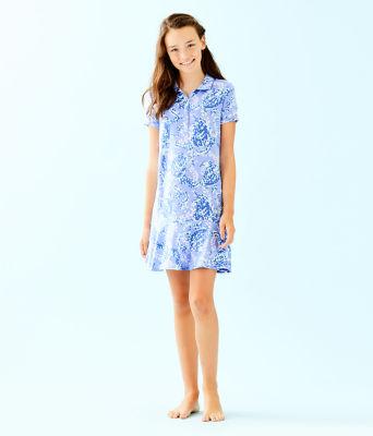 UPF 50+ Girls Mini Sadie Polo Dress, Blue Peri Turtley Awesome, large 3