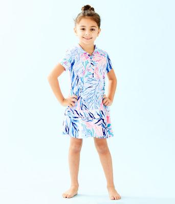 UPF 50+ Girls Mini Sadie Polo Dress, Crew Blue Tint Kaleidoscope Coral, large