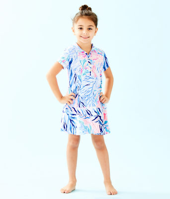 UPF 50+ Girls Mini Sadie Polo Dress, Crew Blue Tint Kaleidoscope Coral, large 0