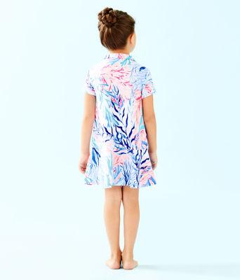 UPF 50+ Girls Mini Sadie Polo Dress, Crew Blue Tint Kaleidoscope Coral, large 1