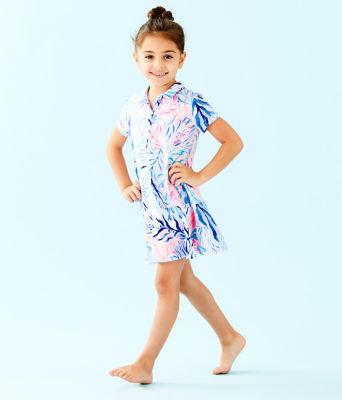 UPF 50+ Girls Mini Sadie Polo Dress, Crew Blue Tint Kaleidoscope Coral, large 2