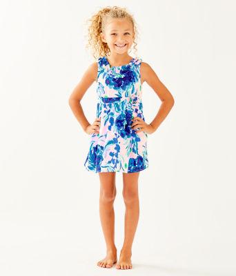Girls Georgina Dress, Pink Tropics Tint Sweet Pea, large 0