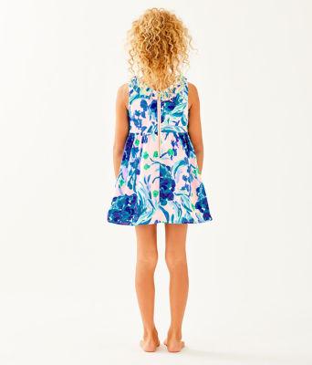 Girls Georgina Dress, Pink Tropics Tint Sweet Pea, large 1