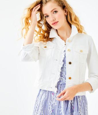 Seaspray Denim Ruffle Jacket, Resort White, large 0