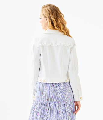 Seaspray Denim Ruffle Jacket, Resort White, large 1