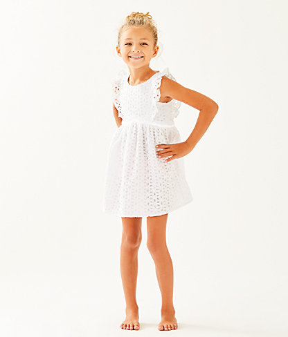 Girls Madelina Dress, Resort White Oval Flower Petal Eyelet, large 0