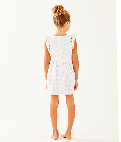 Girls Madelina Dress, Resort White Oval Flower Petal Eyelet, large 1
