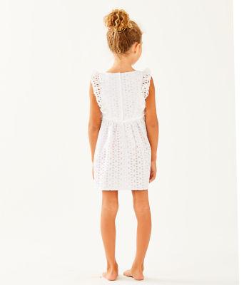 Girls Madelina Dress, Resort White Oval Flower Petal Eyelet, large 1
