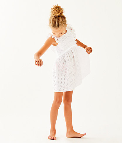 Girls Madelina Dress, Resort White Oval Flower Petal Eyelet, large 2