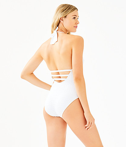 Nevis One-Piece Halter Swimsuit, Resort White Crochet Swim Fabric, large 1