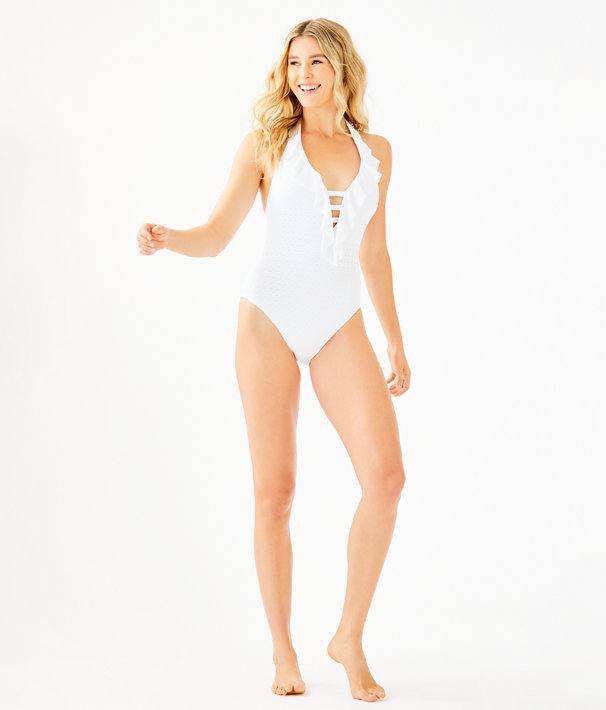 Nevis One-Piece Halter Swimsuit, Resort White Crochet Swim Fabric, large