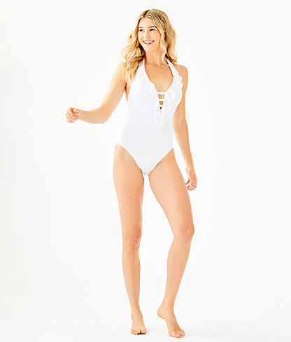 Nevis One-Piece Halter Swimsuit, Resort White Crochet Swim Fabric, large 2