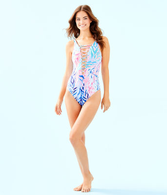 Isle Lattice One-Piece Swimsuit, Crew Blue Tint Kaleidoscope Coral, large
