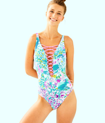 Isle Lattice One-Piece Swimsuit, Multi Postcards From Positano, large 0