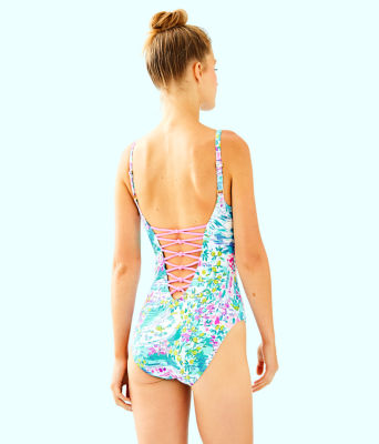 Isle Lattice One-Piece Swimsuit, Multi Postcards From Positano, large 1