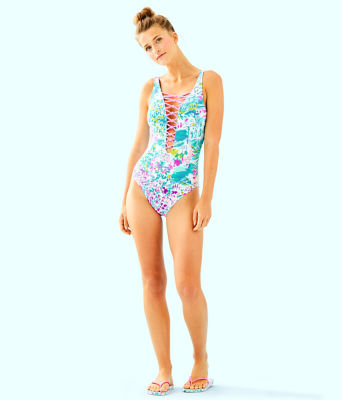 Isle Lattice One-Piece Swimsuit, Multi Postcards From Positano, large 2