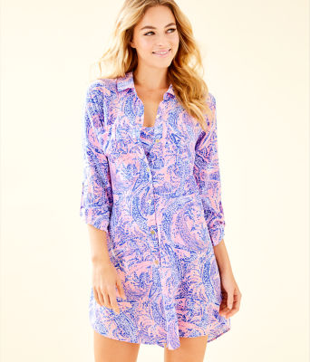 Natalie Shirtdress Cover-Up, Coastal Blue Maybe Gator, large 0