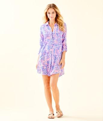 Natalie Shirtdress Cover-Up, Coastal Blue Maybe Gator, large 2