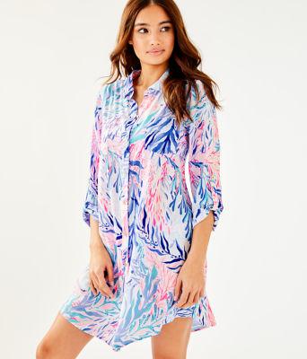 Natalie Shirtdress Cover-Up, Crew Blue Tint Kaleidoscope Coral, large 0