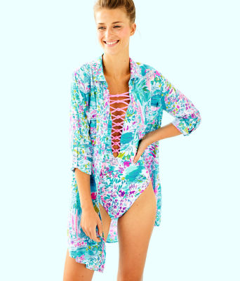 Natalie Shirtdress Cover-Up, Multi Postcards From Positano, large 0