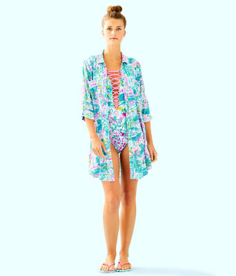 Natalie Shirtdress Cover-Up, Multi Postcards From Positano, large 2