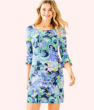 UPF 50+ Sophie Ruffle Dress, Bright Navy Sirens and Spirits, large