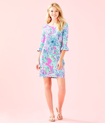 UPF 50+ Sophie Ruffle Dress, Pink Tropics In The Groove, large