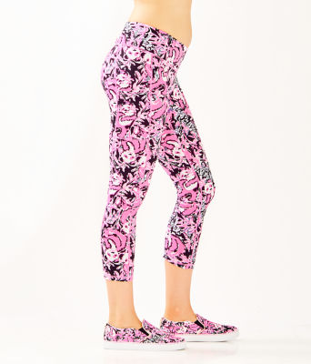 "UPF 50+ Luxletic 24"" Weekender Midi Legging, Hibiscus Pink Hangin With My Boo, large"