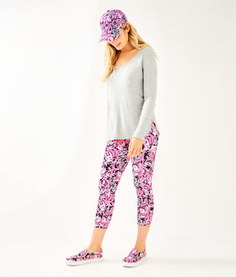 "UPF 50+ Luxletic 24"" Weekender Midi Legging, Hibiscus Pink Hangin With My Boo, large 3"