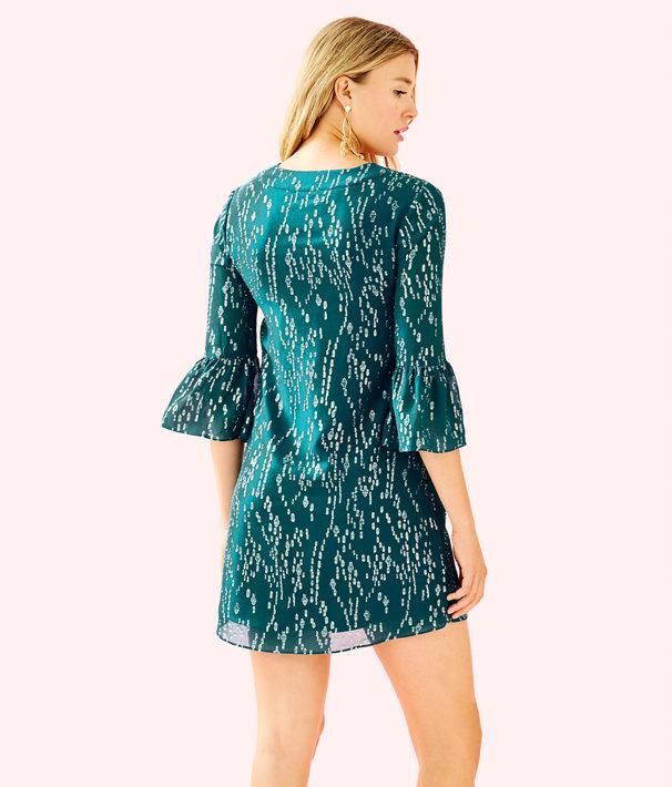 Elenora Silk Dress, Inky Tidal Fish Clip Chiffon, large