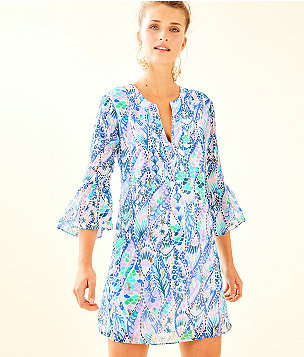 Elenora Silk Dress, Coastal Blue Tails Of The Sea, large