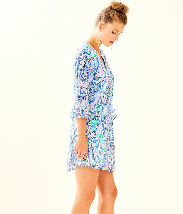 Elenora Silk Dress, Coastal Blue Tails Of The Sea, large