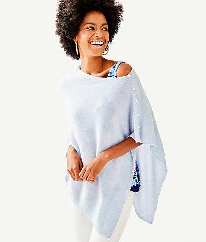 Britta Cashmere Wrap, Heathered Boho Blue, large