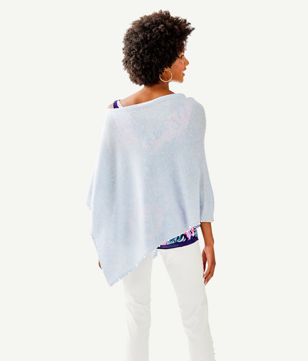 Britta Cashmere Wrap, Heathered Boho Blue, large
