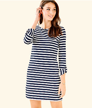 Marlowe Striped T-Shirt Dress, Bright Navy Positano Stripe, large